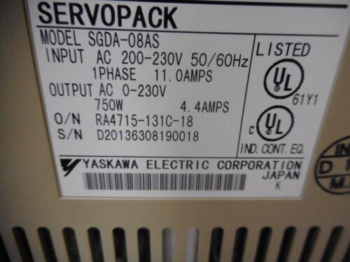 4.4amps 750w Output YASKAWA SERVOPACK 200...230 1 ph Supply SGDA-08AS