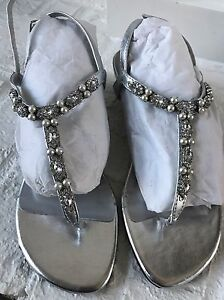 ca3bbf435845b Image is loading Womens-Dyeables-Silver-Low-Wedge-Sandals-Rhinestone-Dressy-