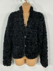 WOMENS-JFW-CASUAL-BLACK-SPARKLY-BUTTON-UP-FLUFFY-CARDIGAN-JUMPER-JACKET-SMALL-S