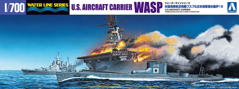 U.S. Aircraft Carrier WASP + IJN Submarine I-19 1 700 Model Kit Aoshima 010303