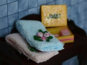 Soap & Towels, Dolls House Miniatures, Bathroom Accessory Bathing Washing
