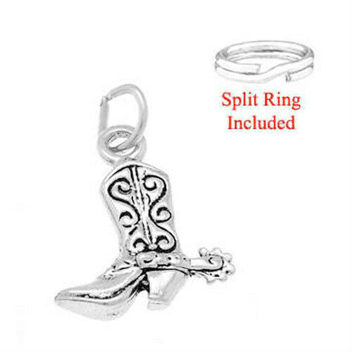 STERLING SILVER DOUBLE SIDED COWBOY BOOT WITH SPUR CHARM