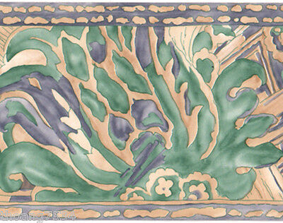 Blue Teal Green Cream Art Deco Watercolor Brush Stroke Floral Wall Paper Border Ebay