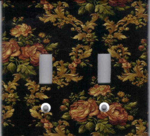 ROSES ON BLACK HOME WALL DECOR DOUBLE LIGHT SWITCH PLATE