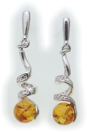 Ohrringe Hänger Bernstein 37 mm echt Silber 925 Sterlingsilber Qualität Damen