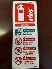 Signo de Agua Fuego extinguiser 200mm X 75mm Auto adheshive/Adhesivo con respaldo