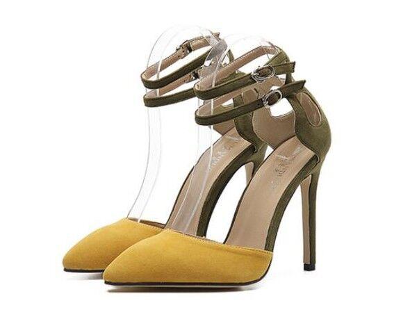 Sandalei simil eleganti tacco stiletto 11 cm giallo verde simil Sandalei pelle eleganti 9845 085064