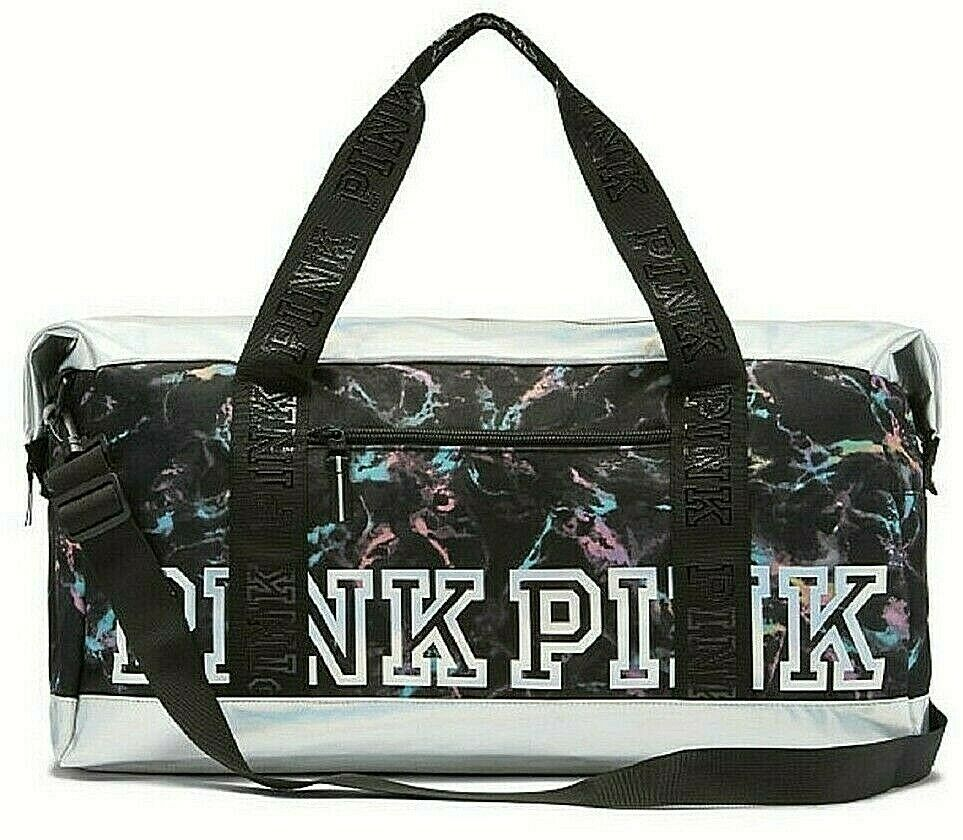 RARE Victoria's Secret PINK Iridescent SPORT XL Duffle Weekender Gym Bag Tote