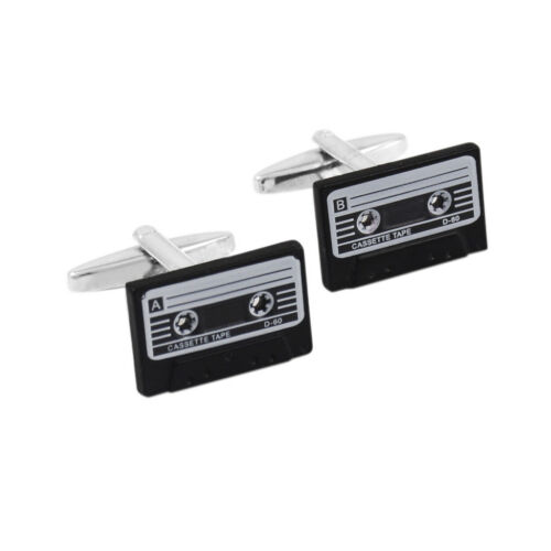Retro Cassette Tape Cufflinks for Mens Shirt Cuff Buttons Enamel Cuff Links