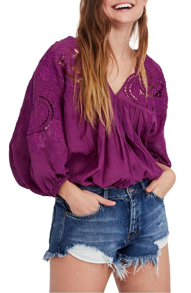 Free People damen Cutwork Dolman OB875347 Blouse Wide Berry lila Größe XS