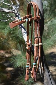 Jose-Ortiz-Harness-Shape-Browband-Headstall-Braided-Natural-Turquoise-Rawhide