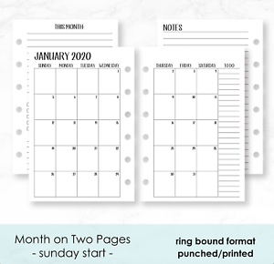 Mini Calendario 2020 Png.Details About 2020 Calendar Insert Paper Fits Filofax Refill Organizer Pocket Personal A5