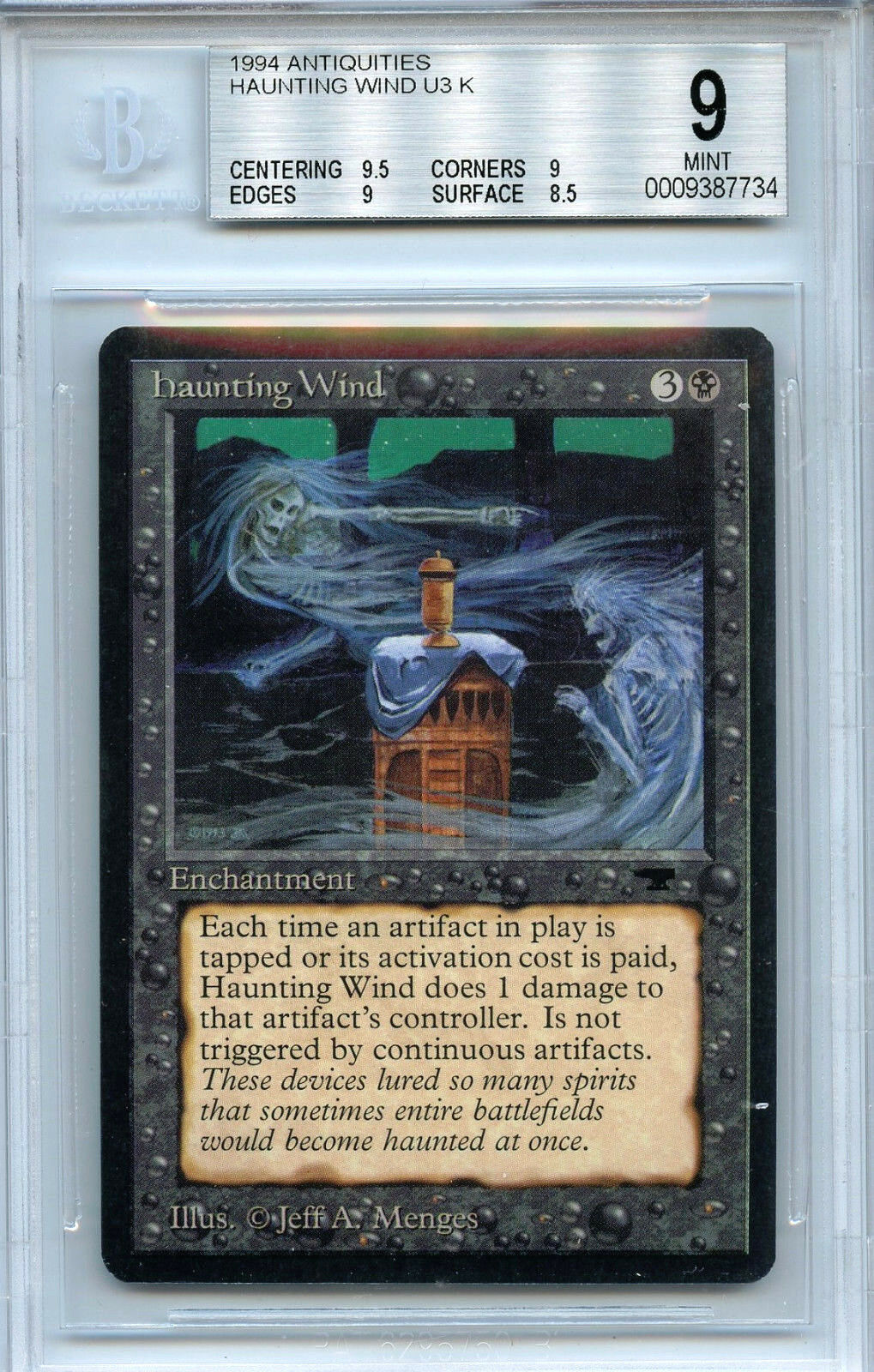 MTG Antiquities Haunting Wind BGS 9.0 (9) Mint Card Magic the Gathering WOTC 734