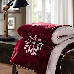 New-Fleece-Blanket-Red-Christmas-Snowflake-Theme-Single-Throw-White-For-Sofa-Bed