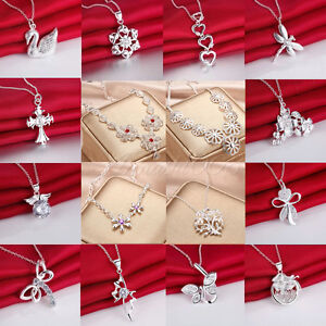Wholesale-Women-Solid-925-Silver-Jewelry-Pendant-Necklace-Chain-Jewellery-Xmas