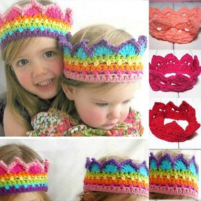 Newborn Baby Girls Boy Knit Crown Headband Cap Kids Crochet Hat Costume