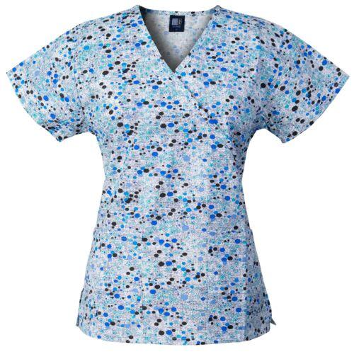 Mock-Wrap with Back Ties /& 2 Pockets Medgear 2-PACK Womens Fashion Scrub Tops