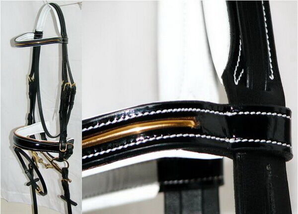 FSS PATENT Leather Gold PIPING schwarz GLOSS Comfort Weiß Padded Dressage Bridle