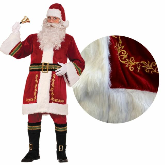Deluxe Regal Santa Claus Mens Fancy Dress Plush Father Christmas Adults Costume