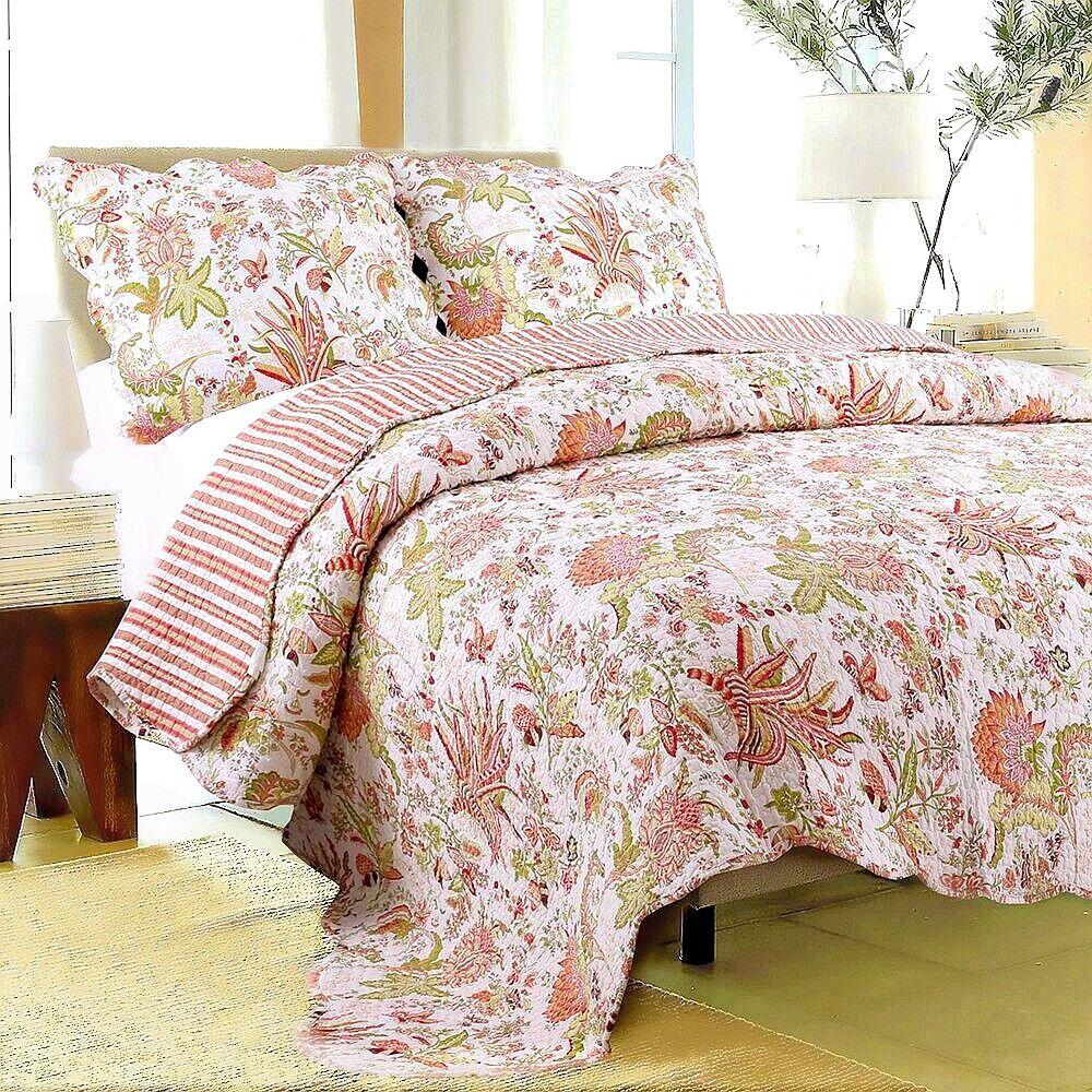 Flowers in Paradise 100% Cotton Twin Größe 2-Piece Quilt set, Bedspread, Coverlet