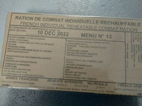 2022-2023 Fresh MRE français PRI militaire Food RCIR 24 H Menu combat France US Box