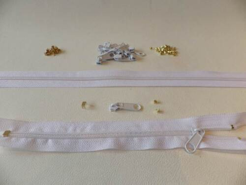 5 CONTINUOUS CHAIN ZIP 5 METRES OF WHITE No 15 SLIDERS TOP /& BASE CRIMP ENDS