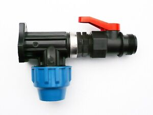 MDPE-Wall-Plate-Elbow-20mm-with-In-Line-On-Off-Ball-Valve-amp-BSPM-3-4-034-Thread