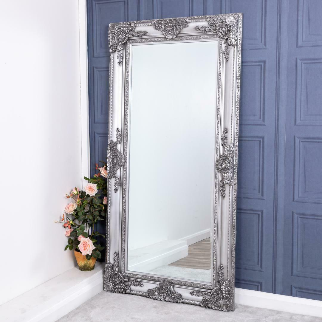 Extra Large Silver Mirror Heavily Ornate Full Length Wall Home 200cm X 100cm For Sale Online Ebay