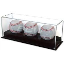 BASEBALL or CRICKET BALL or TENNIS BALL 3 BALL DISPLAY CASE