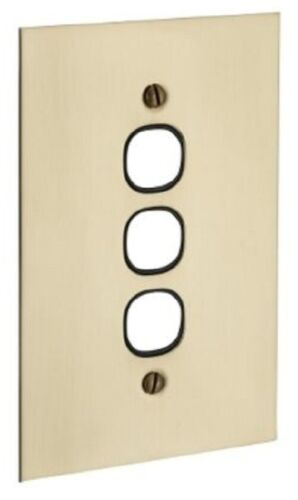 Clipsal BBSL STYLE SWITCH GRID PLATE 130x85mm 3-Gang Brass Less Mechanism WHITE