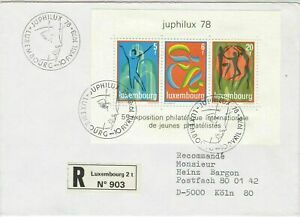 Luxembourg 1978 Int. Stamp Ex. Registered Face Slogans 3 xStamps Cover Ref 25628