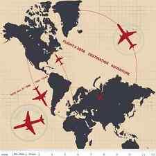 Fat Quarter Detour Plane Flight Path Cream Cotton Quilting Fabric World Atlas