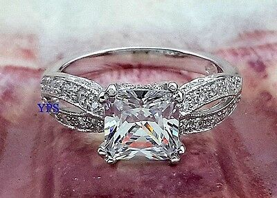 .925 Sterling Silver Princess Cut CZ Accents Vintage Style Ring Size 6