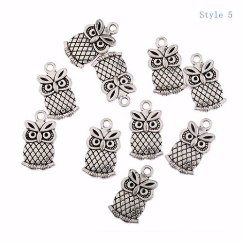 10 Antique Vintage Bird Origami Owl Charm Tibetan Silver Charms Pendant Owl Bead