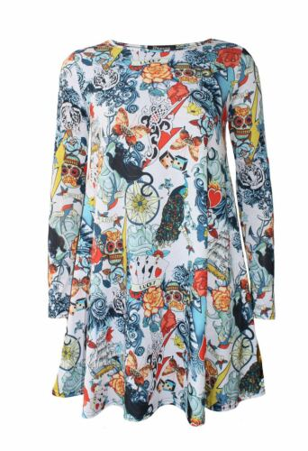 New Women Ladies Long Sleeve Halloween Prints Swing Skater Dress 8-26