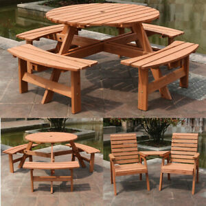 Garden Furniture Set Wooden Table 2/6/8 Seater Outdoor Patio Dining Set UK NEW | EBay