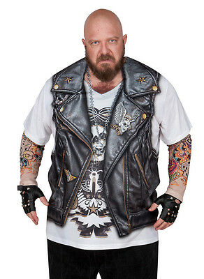 Faux Real Tees Motorcycle Costume Tattoo Sleeves Big Size 3X 4X Biker T-Shirt