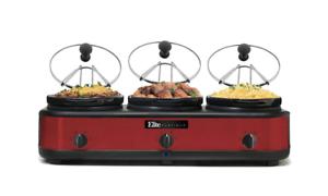 Red Maxi-Matic EWMST-325R Triple Slow Cooker 7.5 Quart