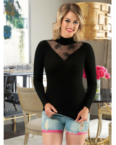 Women High Neck Black Cotton and Lace Top  European Products