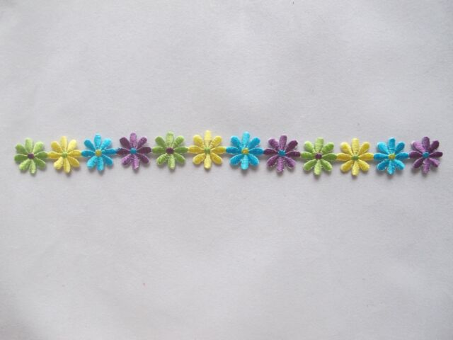 """#3746 9"""" Red,Blue,Yellow,Green Daisy Flower Vine Embroidery Applique Patch"""