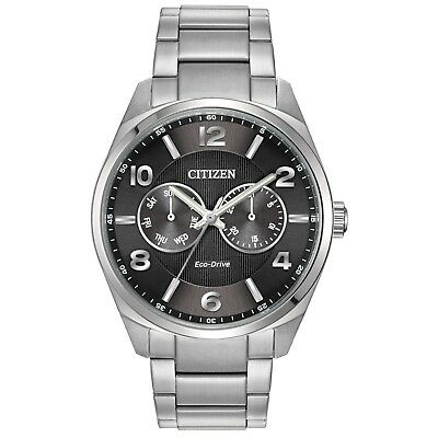 Citizen Eco-Drive Men's Grey Dial Silver-Tone Bracelet 43mm Watch AO9020-84E