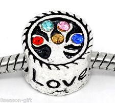 10 Rhinestone Family Love Tree Beads Fit European Charm Bracelet