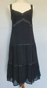 Portmans-Size-8-Cocktail-Party-Black-Silk-Tiered-Drop-Waist-V-Neck-Midi-Dress