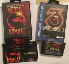 2x BOXED PAL SEGA MEGA DRIVE MEGADRIVE GENESIS GAMES MORTAL KOMBAT 1 I & 3 III
