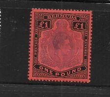 Bermuda sc#128 mint one Pound black & violet red King George VI vlh og f/vf