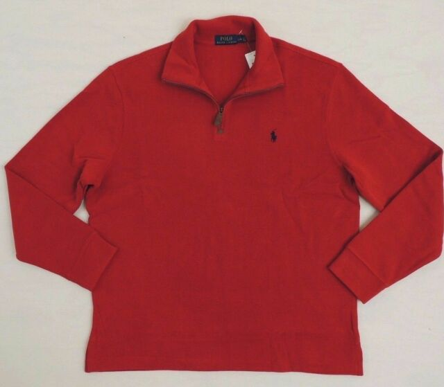fb04b43cd Polo Ralph Lauren 1 2 Zip Leather French Rib Pony Mockneck Sweater Ski L XL