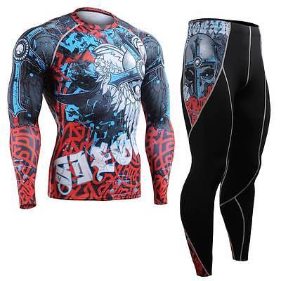 FIXGEAR CFL/P2L-B73 SET Compression Shirts & Pants Skin Tights MMA Training Gym