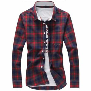 aa6d250b2 Image is loading Fashion-Shirt-For-Men-Checkered-Style-Clothes-Outwear-