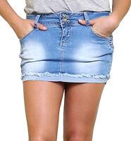 NEW Womens Denim Skirt Stretch Short Mini Skirts Ladies Size 6 8 10 12 14 Blue