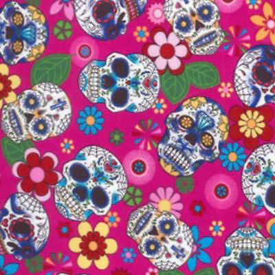 "100% Cotton Poplin Dress Fabric Material - Floral Skull Print - 44"" (112cm) wide"